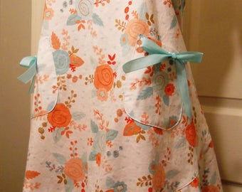 Full Apron - Coral/Turquoise Floral Print