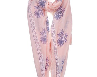 Classic Feminine Floral Stamp Printed Scarf