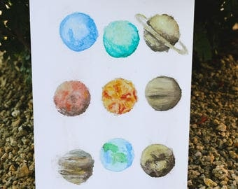 solar system watercolor painting print
