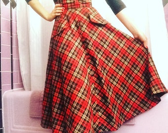1950s Style Wool Plaid Skirt