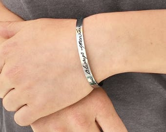 Personalized Actual Handwriting Cuff Bracelet - Steel Bracelet - Signature Jewelry - Handwritten Note Keepsake - Handwriting Cuff - 1292