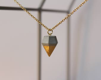 Necklace with concrete diamond pendant GOLDY diffuse dipped peak