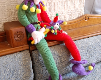 Knitted Court Jester, Novelty gift/doll Art doll