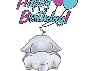 Happy Birthday Elephant Greeting Card