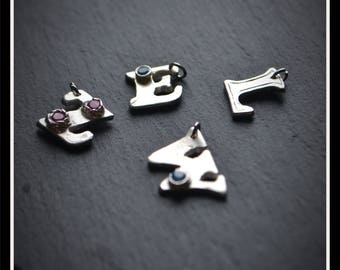 Initial Charm (Small) - CZ or Engraved, Silver Precious Metal Clay (PMC), Handmade, Bracelet - (Product Code: ACM018-17)