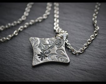 Engraved Curved Square Pendant - Silver Precious Metal Clay (PMC), Handmade, Necklace - (Product Code: ACM022-17)