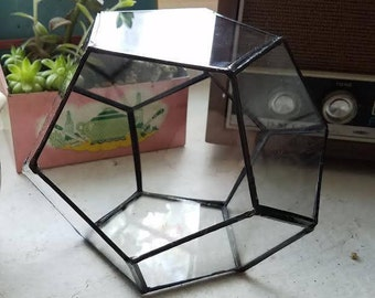 Dodecahedron Geometric Glass Terrarium