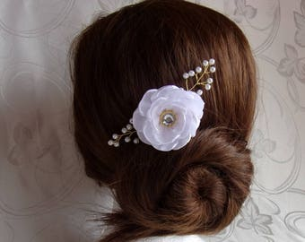 Comb wedding satin and pearls/Barrette with flower hair comb/kanzashi hair white and gold