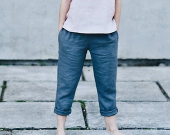Linen pants / linen trousers / washed linen / available in 18 colors