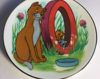 "Disney Letter O for O'Malley (The Aristocats) Miniature Porcelain Plate—Vintage, Part of the ""Disney's Alphabet"" Collection—1980s"