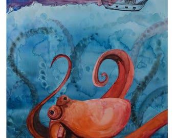 Watercolor Octopus Print