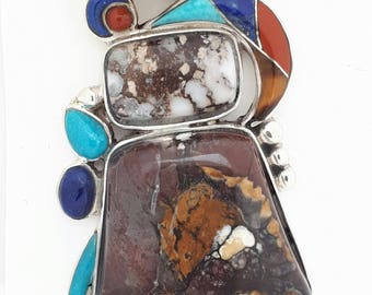 WILD HORSE jasper pendant with inlay