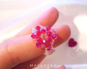 Snowflake ring pink Crystal pearls
