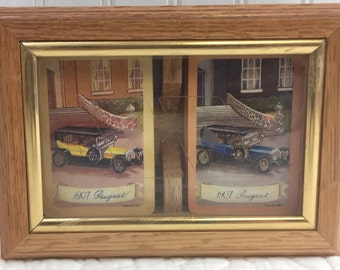 Collectors Set of 2 decks of playing card featuring 1907 Peugeot Vintage Cars in wooden case.
