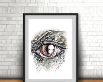 Dragon eye Digital Painting/ Wall art/ Poster