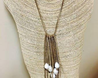 Fringe with White Pearls