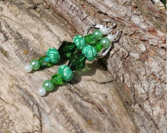 Green glass and crystal bead drop earrings