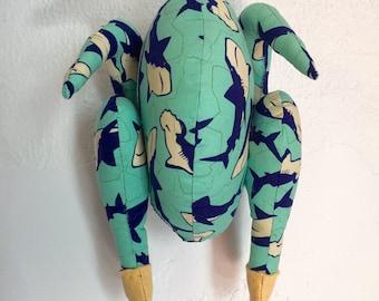 Plushie Roasted Chicken/ Turkey - Shark Print