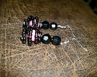 Black and Pink Dangle Earrings!