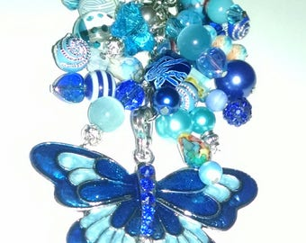 Blue beaded butterfly.