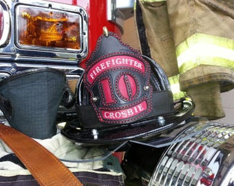 Firefighter helmet handmade leather shield