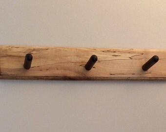 Spalted Maple with 3 Black Walnut Pegs, Hanging Coat Rack