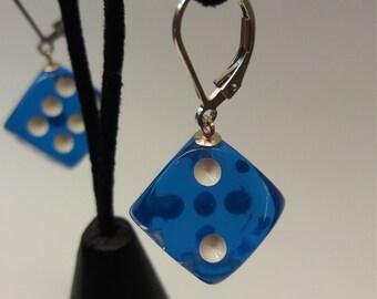 Royal Blue Acrylic Dice Earrings