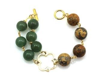 Green Statement Bracelet, Quatrefoil Bracelet, Brown Statement Bracelet, Quatrefoil Jewelry, Jasper Jewelry, Aventurine Jewelry, Quatrefoil
