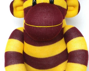 Gryffindor striped sock monkey perfect for Harry Potter fans