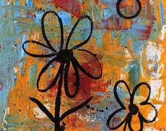 Colorful Flower Painting, Abstract, Modern, Whimsy, Fun, Original Painting, Original Art, Winjimir, Home Decor, Office Art, Wall Art, Gift
