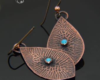 Textured Copper Earrings with Turquoise Stone