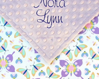 Personalized Baby Blanket Baby Girl Minky and Butterflies Dragonfly Ladybug Butterfly Cotton New Baby Shower Gift Lavender Lilac Purple