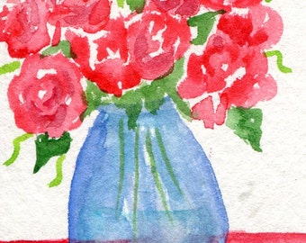 ACEO Roses watercolor painting, floral roses painting  art card, blue vase, watercolors paintings original, flower painting