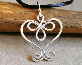 Celtic Heart Pendant, Sterling Silver Wire, Valentines Day Gift  for Her Celtic Necklace, Heart Jewelry, Heart Necklace, Women, Gift forWife