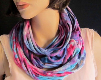 Scarf Infinity Tube Long Soft Knit Hand Dyed Reclaimed T-shirts Pink Blue Purple Fuchsia Magenta