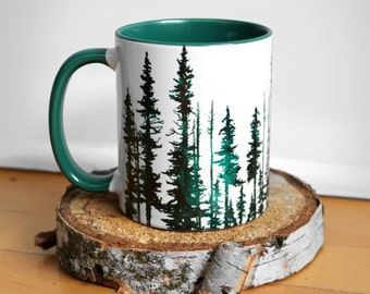 Hunter Green Evergreen Trees with Green Rim Mug