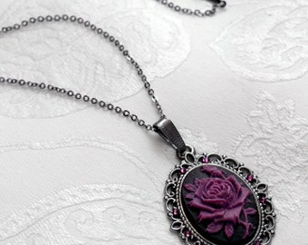 Black Purple Crystal Gothic ROSE CAMEO NECKLACE Victorian Pendant Gunmetal D75