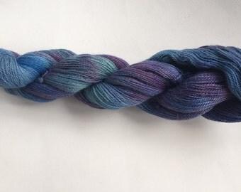 Hand Dyed Laceweight Yarn, Baby Alpaca--Iris colorway