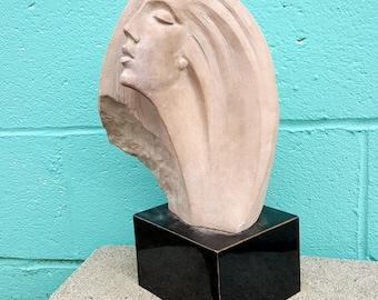 Vintage Austin Products 1980 Woman Head Long Hair Sculpture Statue