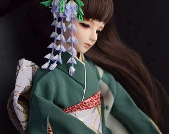 BJD 1:4 size (MSD) wisteria clip. Lilac wisteria kanzashi. Silk hand dyed flower original design. Mini Empress Akashi.