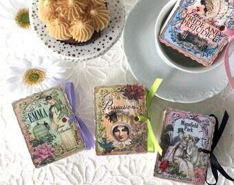 Jane Austen Book Party Favors | Miniature Books Birthday Shower Tea | Emma | Persuasion | Mansfield Park | Pride Prejudice | Personalize 12