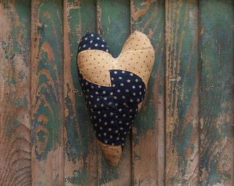 Rustic Heart Ornament, Antique Quilt Farmhouse Style Heart, Primitive Americana Decor, Blue & White Stars - READY TO SHIP