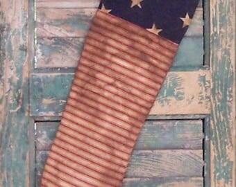Americana Flag Stocking, Primitive Stocking Christmas Stocking Patriotic Stocking Ticking Stocking Farmhouse Decor - READY TO SHIP #1
