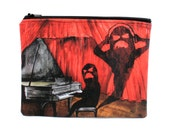 A Monstrous Passion - Zipper Pouch - Shadow Monster Obsessed with Music Grand Piano - Art by Marcia Furman