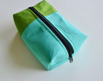 Boxy Zipper Pouch - Cosmetic Bag - Aqua Green Pouch - Gift for Mom - Toiletry Bag - Colorblock Pouch - Blue Green Bag - Zipper Pouch