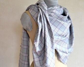 Large Wool Wrap Shawl Scarf or Throw Lightweight Versatile in Grey & Purple Plaid Fabric Square Shape
