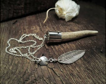 N1532 Sterling Silver of Earth and Air Pendant Necklace Antler and Feather