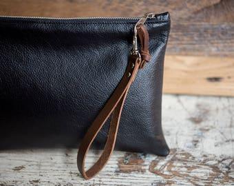 Black Leather Zipper Clutch/ Leather Clutch Bag/ Leather Bag/ Travel Organizer/ Cord Organizer