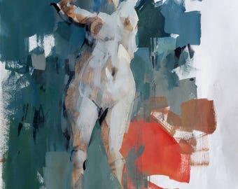 Original 17x14 Figure Sketch Female Painting Drawing OOAK