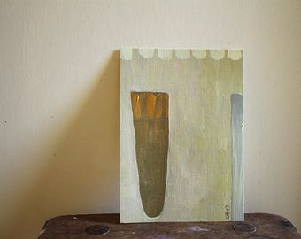 """VESSEL / still life / original painting 5""""x7"""" / acrylic on paper / small painting / by pamelatang"""